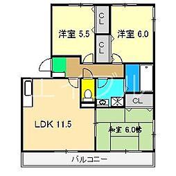 ディアコート札場 A棟[1階]の間取り