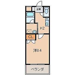 ル・マンA3番館 1階1Kの間取り