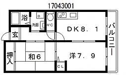 サンディグノ帝塚山[3階]の間取り
