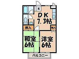 栃木県宇都宮市下川俣町の賃貸アパートの間取り