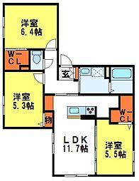 ローズメゾン吉松[2階]の間取り