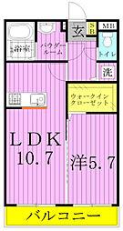 千葉県柏市藤心4の賃貸アパートの間取り