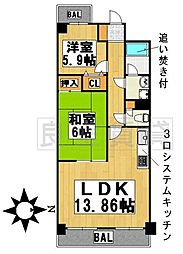 愛知県名古屋市千種区自由ケ丘2丁目の賃貸マンションの間取り