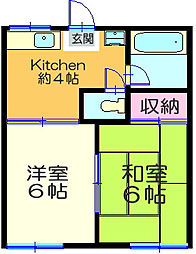 神奈川県横浜市神奈川区西神奈川1丁目の賃貸アパートの間取り