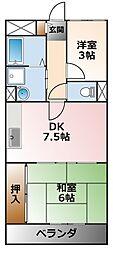 シエルコート南甲子園[2階]の間取り