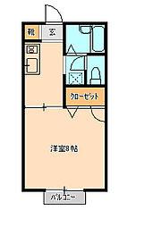 コーポラスクレストE棟[105号室]の間取り
