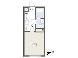 JR中央線 三鷹駅 徒歩11分の賃貸マンション 3階1Kの間取り