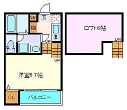 (仮称)八本松1丁目コーポ 2階1Kの間取り