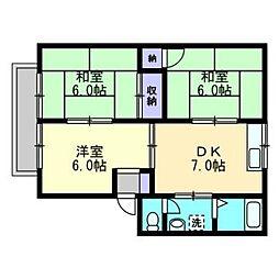 ファミリーハウス北畝[A102号室]の間取り