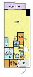 JR東海道本線 横浜駅 徒歩8分の賃貸マンション 10階ワンルームの間取り
