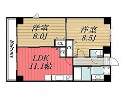 千葉県千葉市中央区新宿1丁目の賃貸マンションの間取り