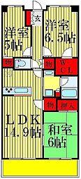 クレサージュ松戸六高台[407号室]の間取り