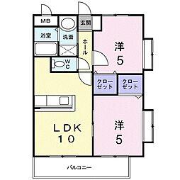 福岡県大野城市中央1丁目の賃貸マンションの間取り