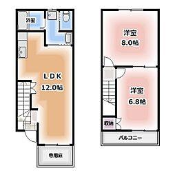 [テラスハウス] 愛知県清須市鍋片1丁目 の賃貸【/】の間取り