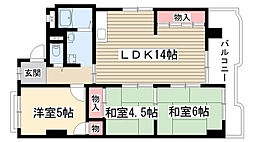 愛知県名古屋市名東区牧の原3丁目の賃貸マンションの間取り