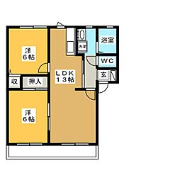 フローラ D[1階]の間取り