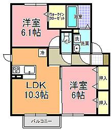 仮)D−room寄井 K[205号室]の間取り