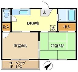 第1押田ハイツ 105[1階]の間取り