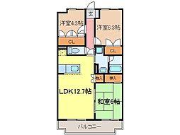 静岡県富士市長通の賃貸マンションの間取り