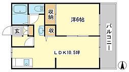 ルミエール東今宿B[B202号室]の間取り