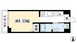プランドール西院 4階1Kの間取り