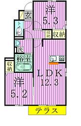 千葉県松戸市常盤平双葉町の賃貸アパートの間取り