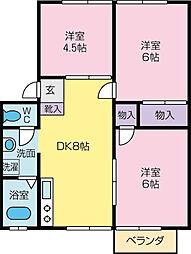 ハイツ飯島B[1階]の間取り