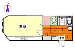 神奈川県横浜市港南区港南4丁目の賃貸アパートの間取り