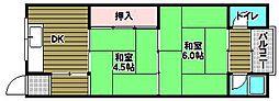 中林マンション 2階2DKの間取り