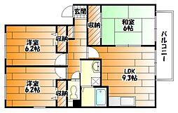 広島県広島市安佐南区長束西1丁目の賃貸アパートの間取り