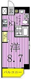 GENOVIA西新井大師green veil 3階1Kの間取り