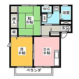 エスポワール藤B[1階]の間取り