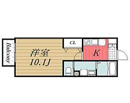 JR総武線 稲毛駅 徒歩15分の賃貸アパート 1階1Kの間取り