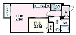 月光江波東四番館 1階1LDKの間取り