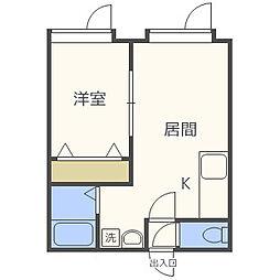 北海道札幌市西区発寒五条5丁目の賃貸アパートの間取り