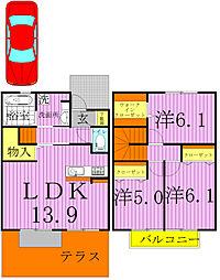 [テラスハウス] 千葉県柏市手賀の杜5丁目 の賃貸【千葉県 / 柏市】の間取り