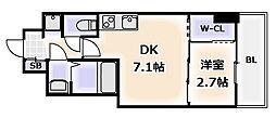 Osaka Metro千日前線 桜川駅 徒歩1分の賃貸マンション 6階1DKの間取り