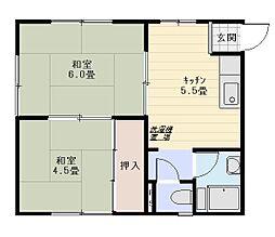 神奈川県横須賀市衣笠町の賃貸アパートの間取り