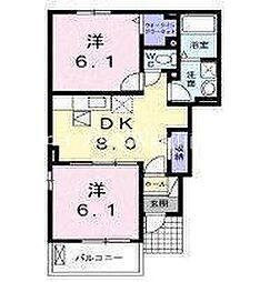 JR山陽本線 岡山駅 バス40分 郡下車 徒歩5分の賃貸アパート 1階2DKの間取り