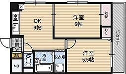 メロディハイム新大阪[9階]の間取り