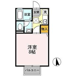 セジュール・ユタカA棟 2階1Kの間取り