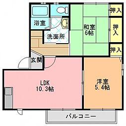 奈良県生駒郡三郷町三室1丁目の賃貸アパートの間取り