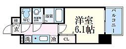 エステムコート神戸グランスタイル 2階1Kの間取り