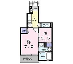 JR筑豊本線 本城駅 徒歩22分の賃貸アパート 1階1SKの間取り