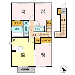 グラマードマレVIII B[2階]の間取り
