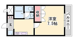 JR播但線 野里駅 バス13分 大野停下車 徒歩1分の賃貸アパート 2階1Kの間取り