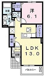 南海高野線 萩原天神駅 3.1kmの賃貸アパート 1階1LDKの間取り