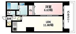 JR東海道・山陽本線 新大阪駅 徒歩7分の賃貸マンション 20階1LDKの間取り