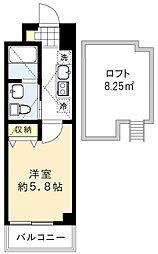 シャッツクヴェレ道玄坂 4階1Kの間取り