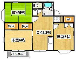 東京都羽村市羽加美2丁目の賃貸アパートの間取り
